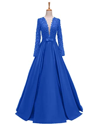Promworld Womens V-Neck Evening Party Dress Lace Long Sleeve Prom Dresses Blue US2