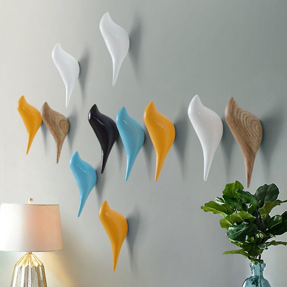 Baffect multiusos resina soporte de pared gancho percha soporte en dise/ño de p/ájaros para perchero sombrero toalla bolsa 3pack-blue