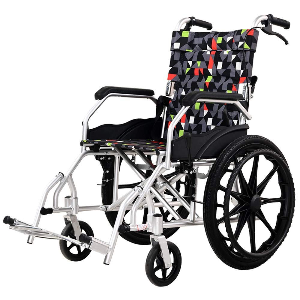 YANGLIYU Folding Wheelchair,Aluminium Wheelchair,Folding Self Propelled Wheelchair,Light and Easy to Carry,Load Capacity Up to 100 Kg