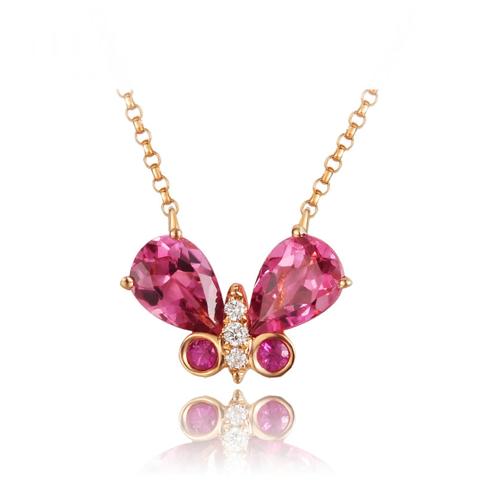 Daesar 18K Gold Necklace For Women Butterfly Tourmaline Pink Pendant Necklace Rose Gold Chain Length:45CM