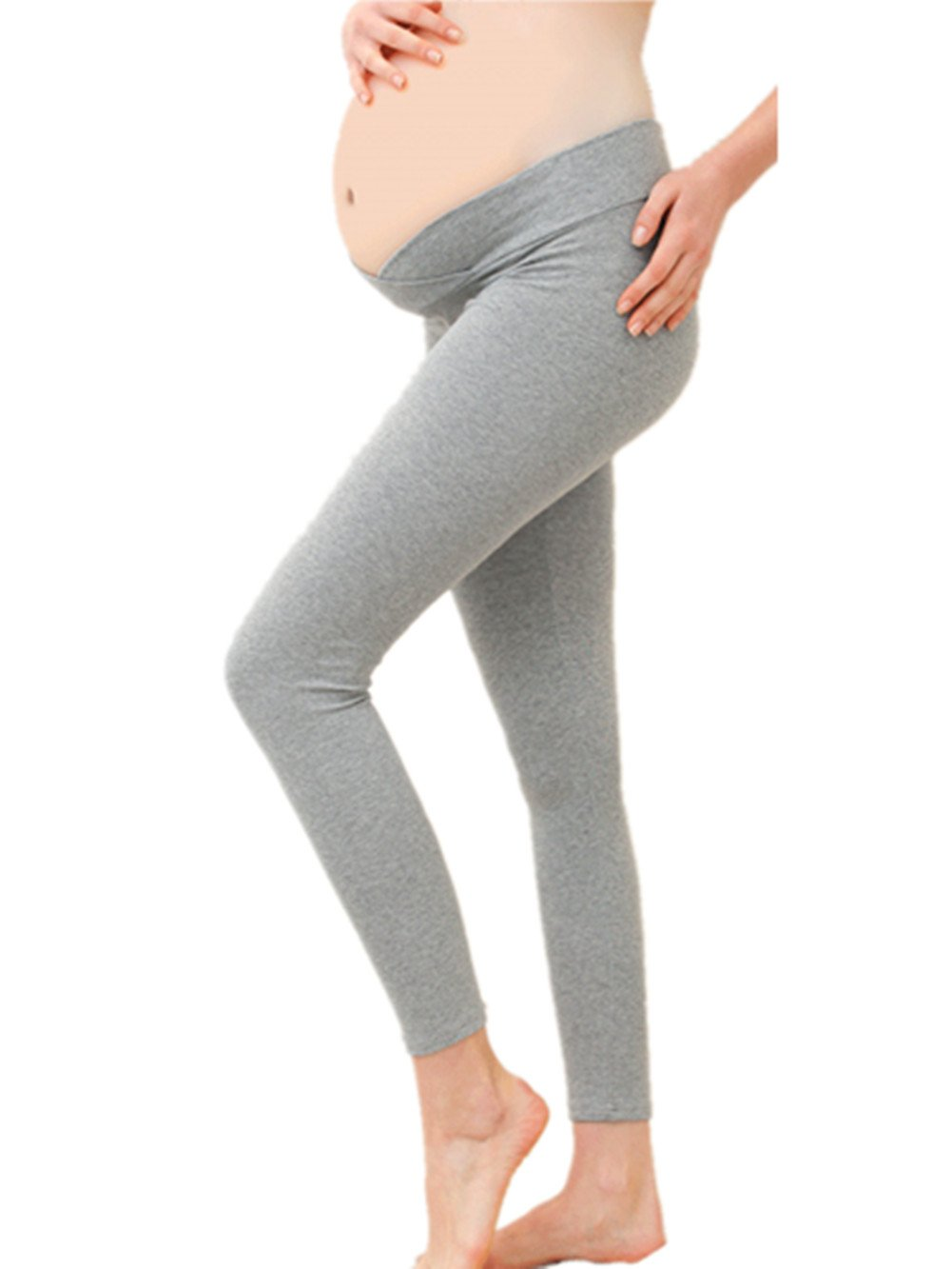 William & Winnie Maternity Pregnant Leggings Seamless Elastic Low Waist Under The Belly Pants for Spring Summer(Grey-L)