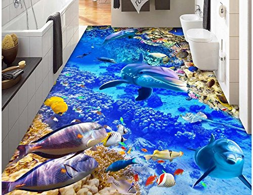 LWCX 3D Floor Wallpapers Sea World Dolphin Custom Photo Self-Adhesive 3D Floor Pvc Waterproof Floor Home Decoration 200X160CM