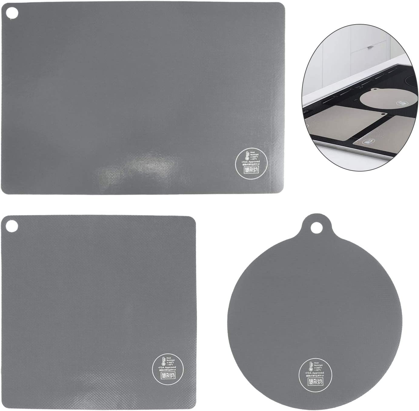 3 Pack Electric Induction Cooktop Protector Mat Set, Silicone Cook Top Scratch Protector Cover for Countertop Burner Cooker Stove Range