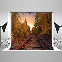 7x5ft Cotton Polyester Yellow Leaves Fall Railway Party Decoration Photography Backdrop Seamless No Creases Folding and Washable Photo Booth Background