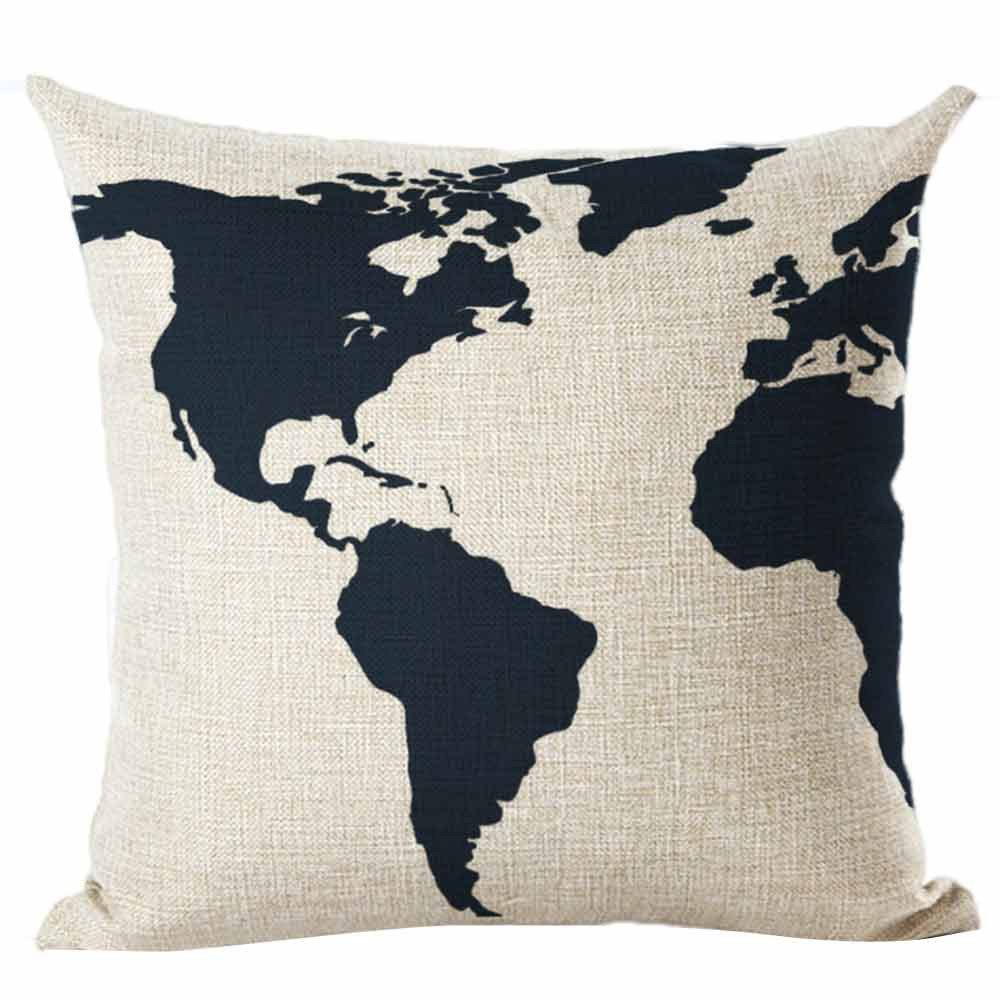 Pgojuni Map The World Print Pillow Cases Linen Cotton Sofa Cushion Cover Home Decor Sofa/Couch 1pc 45X45 cm (A)