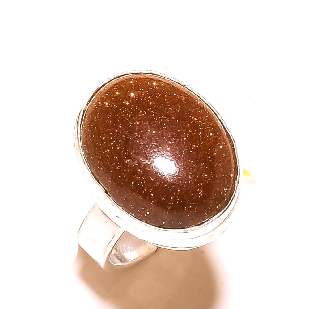 Ancient Sizable Golden Sunstone Sterling Silver Overlay Ring Size 5.5 US Handmade Jewelry