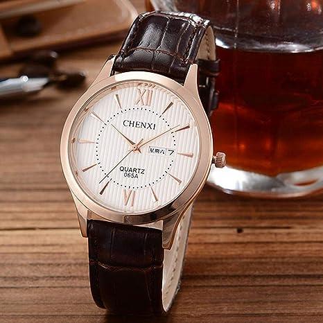North King Reloj de Cuarzo para Hombre, Resistente al Agua muñeca Reloj con Bastante Cuero