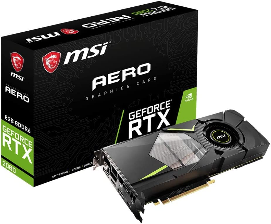 MSI GAMING GeForce RTX 2080 8GB GDRR6 256-bit HDMI/DP/USB Ray Tracing Turing Architecture Graphics Card (RTX 2080 AERO 8G)