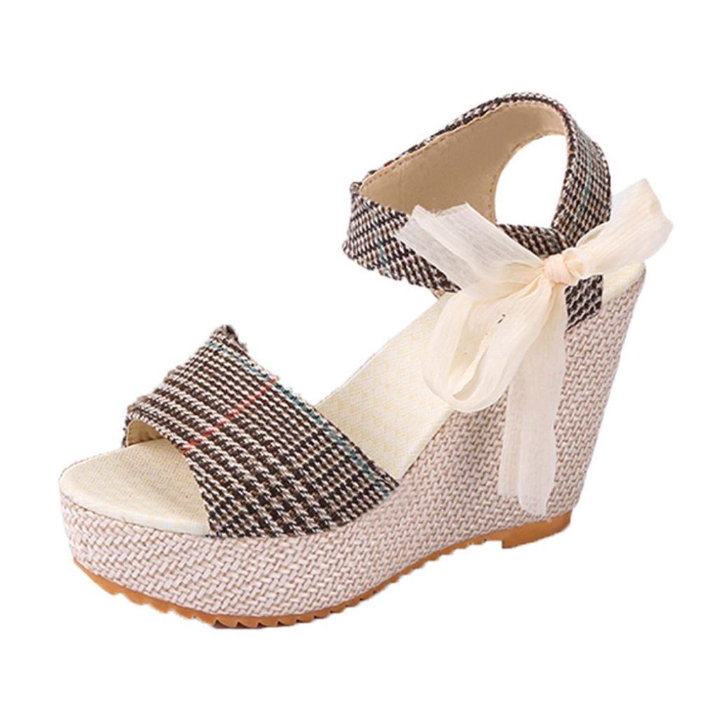 Single Shoe, AIMTOPPY Casual Women's Shoes Sandals Round head Wedge Heels Summer High Platform Fish Mouth Shoes (US:5.5, Khaki) B0793BNDRY US:5.5|Khaki