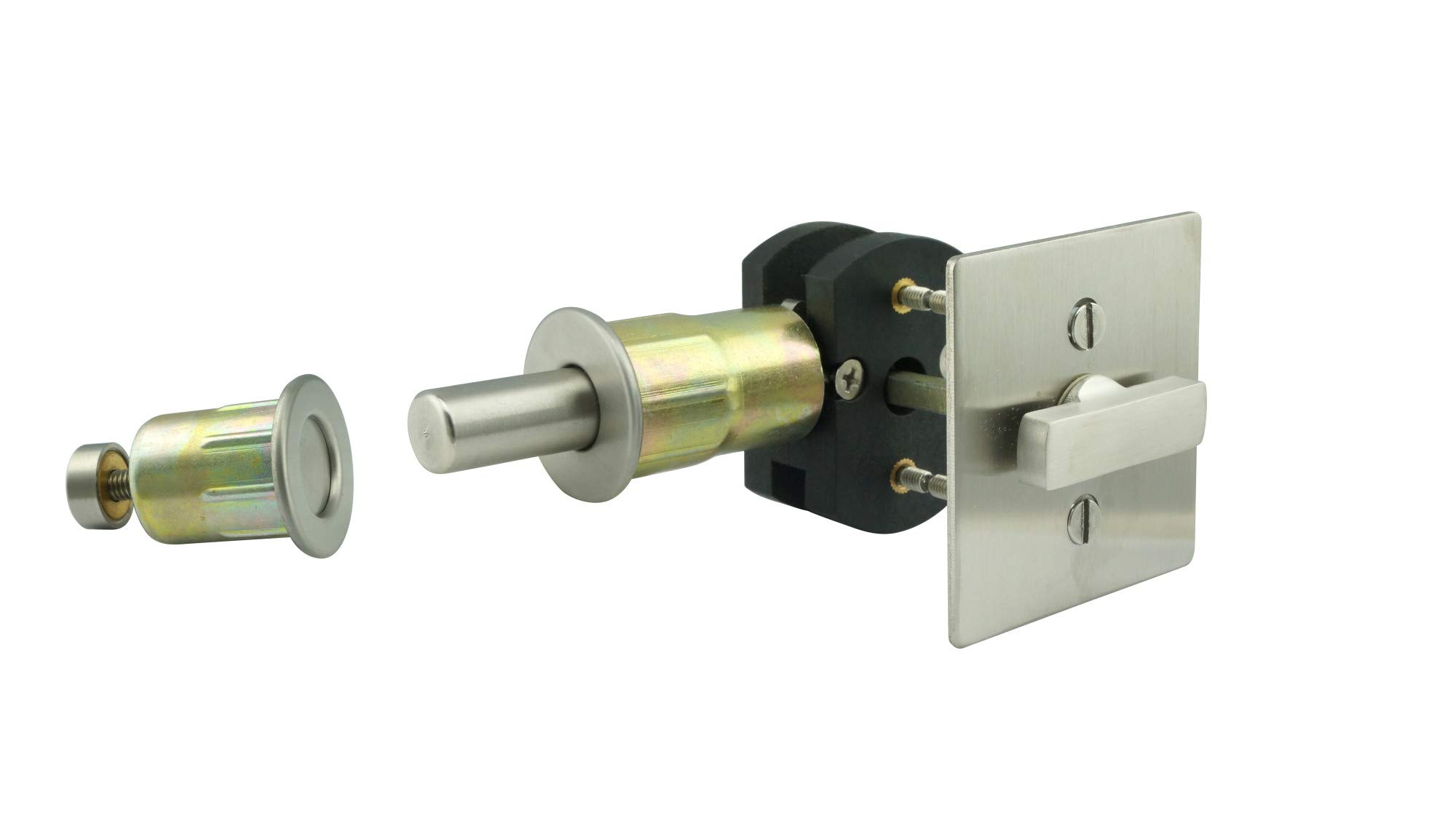 INOX EC1314-BD4312-10B Privacy Lock for Sliding Barn Door with TT14 Thumbturn, Square Rose and 3-1/2'' Backset
