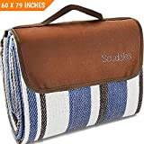 Extra Large Picnic & Outdoor Blanket Dual Layers for Outdoor Water-Resistant Handy Mat Tote Spring Summer Blue and White Striped Great for The...
