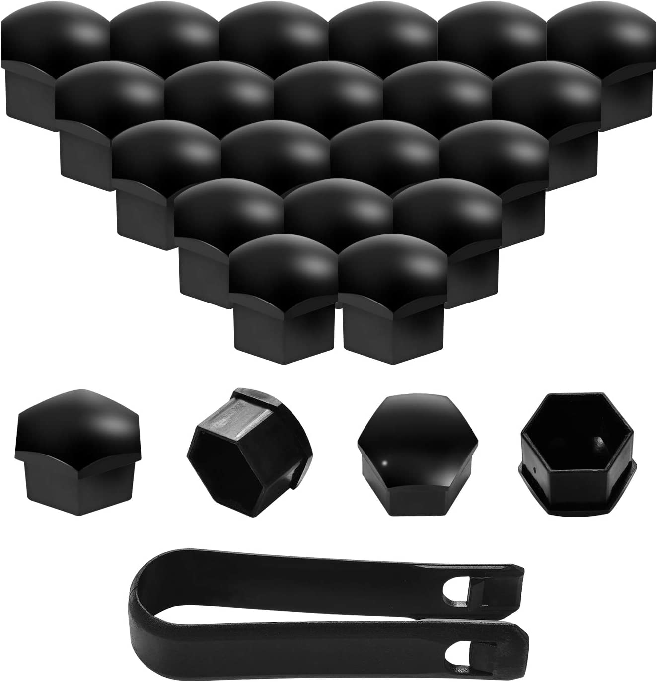 moinkerin 20 Piezas Tapas de Tornillos Tapas de Tuercas Tapas Nuez Universal 17mm Cubierta de Tuerca para Coches Ruedas con Herramienta Negro