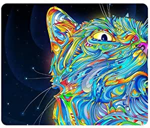 Psychedelic Cat Trippy Artwork Traditional Art Snail Mouse Pad,Customized Rectangular Mousepad