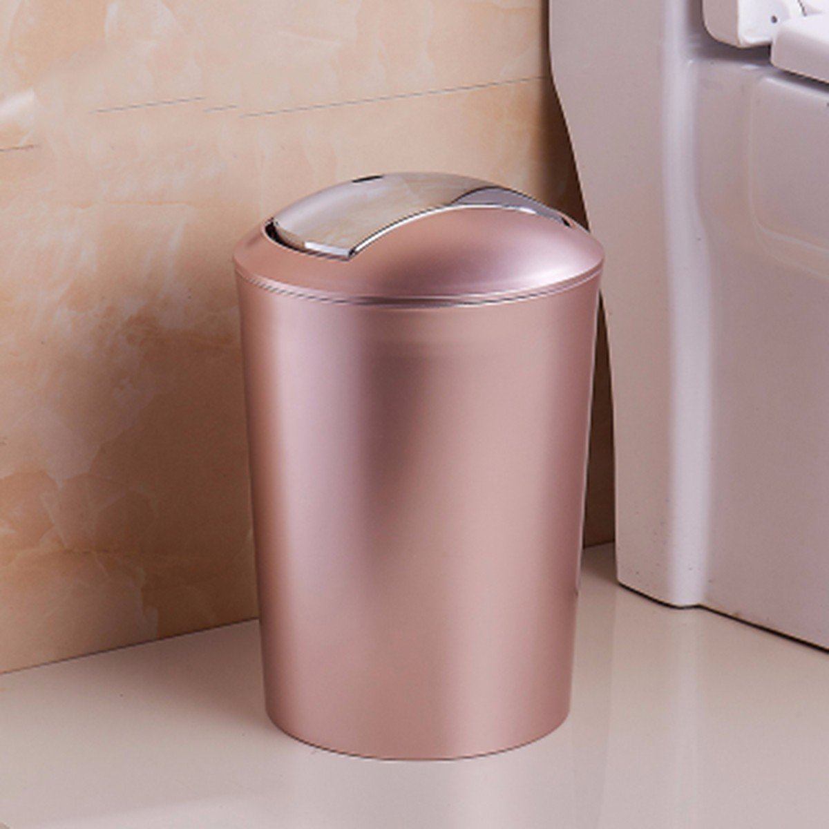 Hongruichang Bathroom And Toilet Big Creative Garbage Can Household Living Room Bedroom With Cover Type Garbage Cylinder European Simple Fashion,H