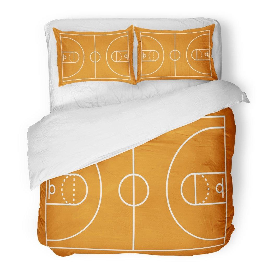 SanChic Duvet Cover Set Field Basketball Court Lines Above Game Plan Area Backboard Decorative Bedding Set Pillow Sham Twin Size