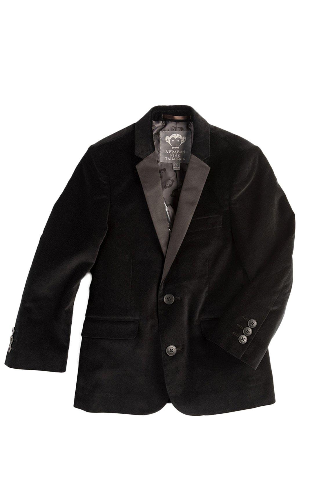 Appaman Boys' Tuxedo Blazer, Black Velvet, 5 by Appaman