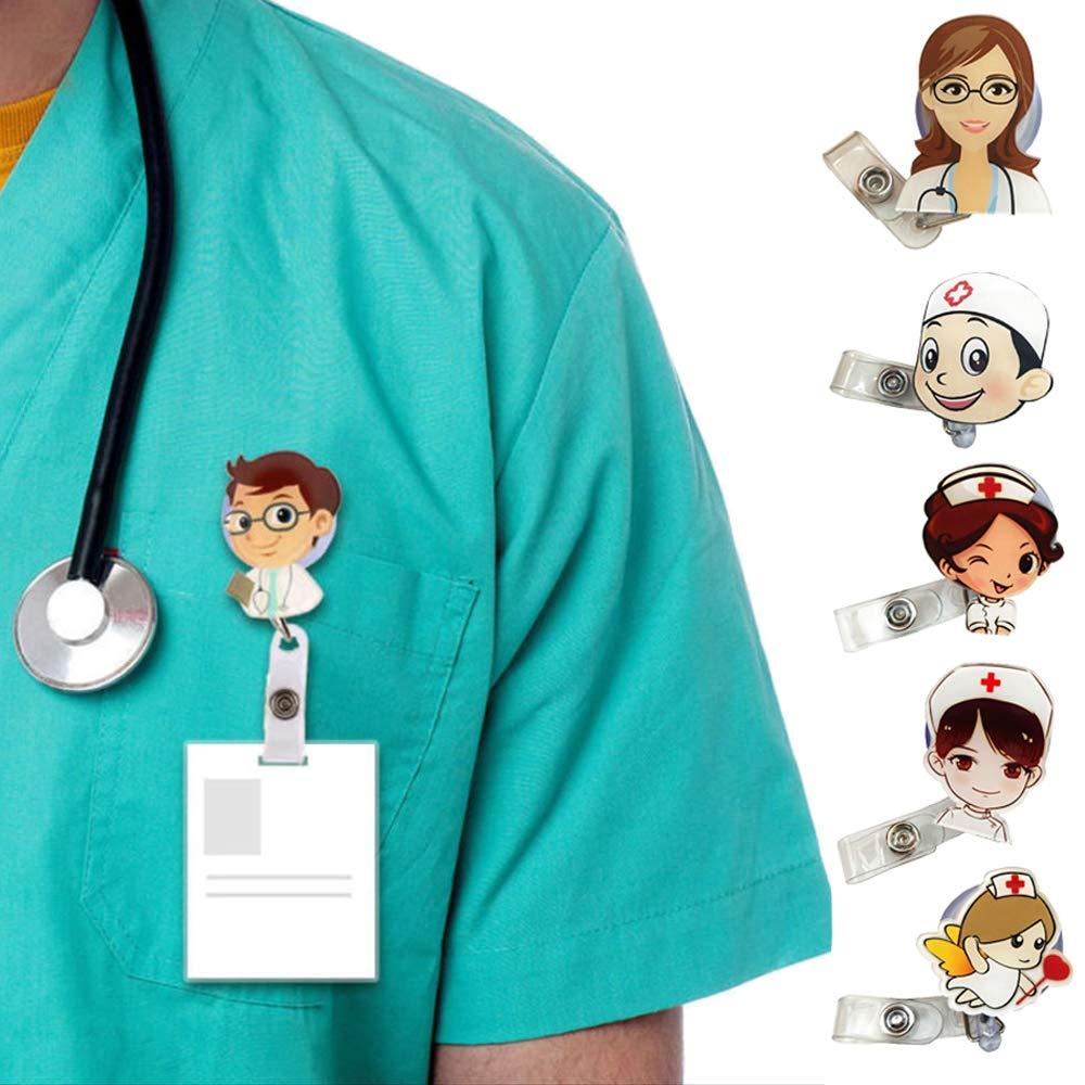 Doctor Badge Holder, 6 Pieces Nurse Doctor Retractable Badge, Nurse Badge Holder, Hospital ID Telescopic Buckle for Medical Worker, Cosplay, Gift