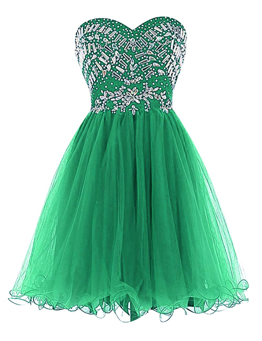 Emerld Uther Sweetheart Cocktail Dresses Tulle Beading Knee Length Homecoming Prom Dress