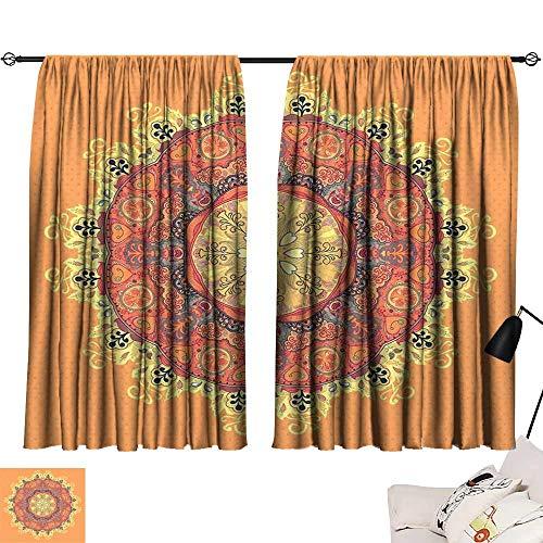 Tankcsard Curtain tiebacks Mandala,Floral Mandala Pattern Leaves Kaleidoscope Art Ethnic Theme Zen Inspired,Orange Yellow Red 54
