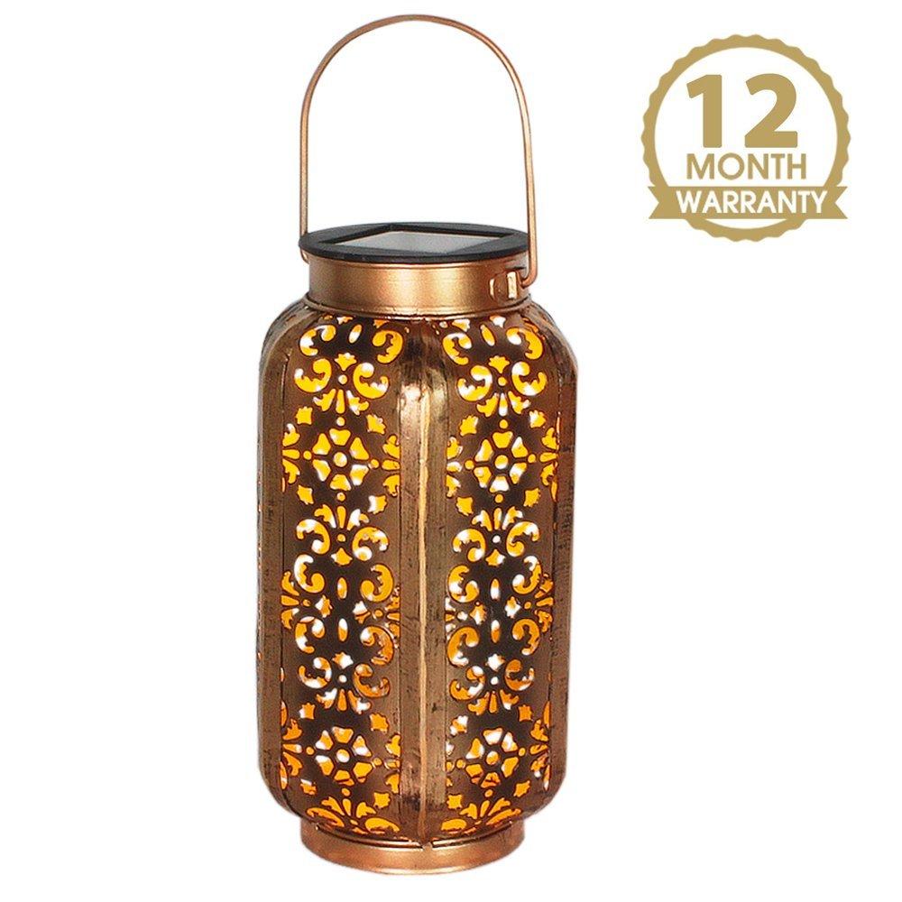 Petrala Solar Lantern Lights Outdoor Vintage Metal Hanging Lanterns 7 lumens Copper Brown with Handle for Garden Patio Table