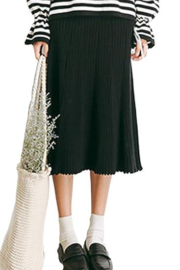 Las Faldas De Cintura Alta Punto Invierno Casual Solid Una Linea ...