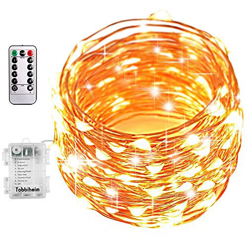 Tobbiheim 39.3 ft Fairy Lights String 100 LED 8 Modes Battery Powered IP68 Waterproof Battery Case with Remote and Timer, Copper Wire Light for Outdoor & Indoor - Warm White(Battery Not Included)