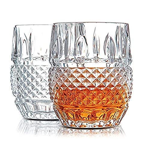 Unique Whiskey Glasses Set of 2. Ultra Clarity Glass Rocks Tumblers (10oz). 'Crystal Cask' by Van Daemon for Whisky…