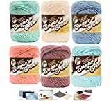 Lily Sugar n' Cream Variety Assortment 6 Pack Bundle 100% Cotton Medium 4 Worsted with 4 Patterns (Asst 52)