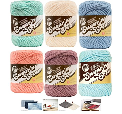 Lily Sugar n' Cream Variety Assortment 6 Pack Bundle 100% Cotton Medium 4 Worsted with 4 Patterns (Asst 52) by Spinrite