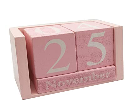 c11ccbf12b02 Small Wooden Desk Blocks Calendar - Perpetual Block Month Date Display Home  Office Decoration(Pink), 3.7 x 2.1 x 1.7 inches