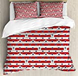 USA King Size Duvet Cover Set by Ambesonne, Patriotic Pattern Love My Country Continent American Federal Freedom Image, Decorative 3 Piece Bedding Set with 2 Pillow Shams, Coconut Navy Blue Red