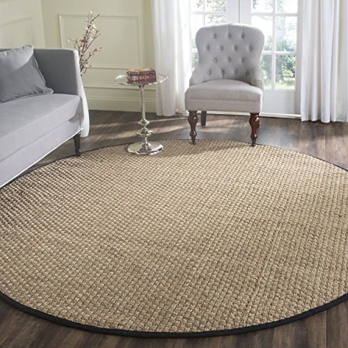 - Safavieh Natural Fiber Collection NF114C Basketweave Natural and Black Summer Seagrass Round Area Rug (8' Diameter)