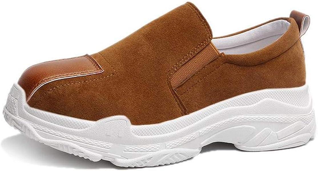 Mujer Plataforma Pisos CuñAs Zapatos Gamuza Ocio Slip On Pisos Tacones Mocasines Coser SeñOras Zapatillas De Deporte Casuales