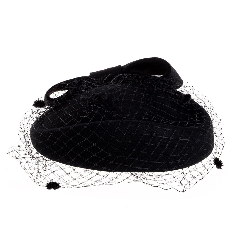 Vintage Hat Styles for Fall/Winter VBIGER Women Fascinator Hats Derby Wedding Hats Vintage Hat Pillbox Hat Woollen Felt Hat Bow Veil Party Hat For Women $20.99 AT vintagedancer.com