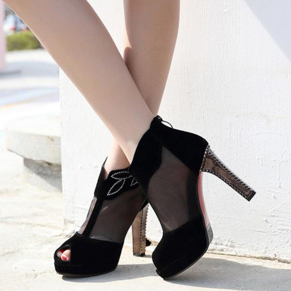 GAOLIXIA GAOLIXIA GAOLIXIA Frauen Damen High Heels PU Frühling Sommer Mesh dick mit Sandalen Peep Toe Plateau Court Schuhe Pumps schwarz rot b64032