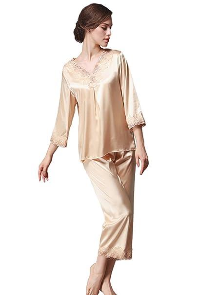 TT Global Pijamas para mujer, Bordado de flores de encaje Satén suave y cálido Manga