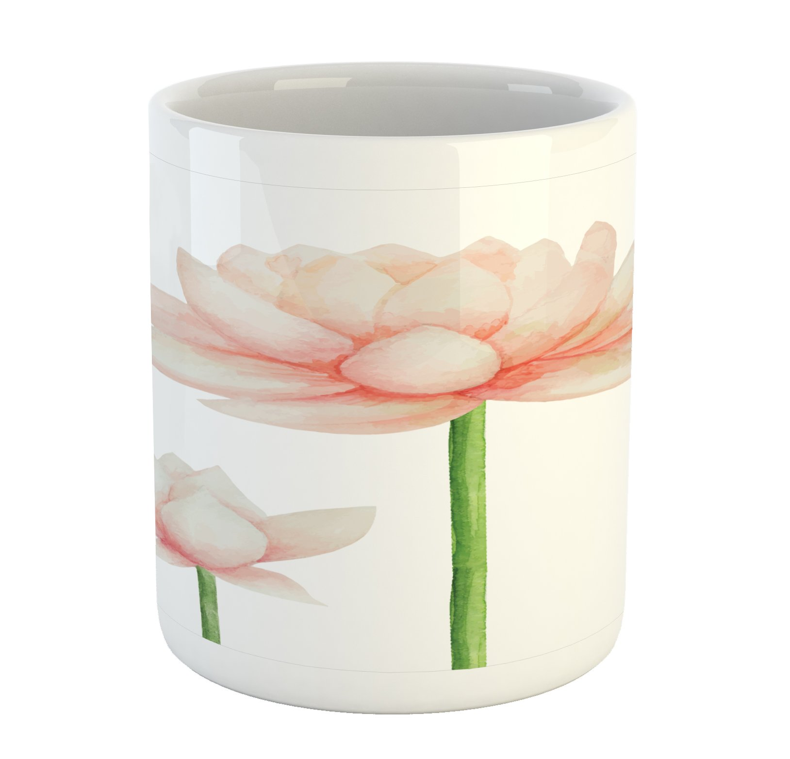 Ambesonne Yoga Mug, Pastel Colored Blooming Lotus Flower Romantic Fresh Garden Plant Spa Theme, Printed Ceramic Coffee Mug Water Tea Drinks Cup, Peach Green and White