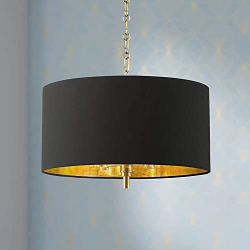 Warm Gold Drum Pendant Chandelier 20 Wide Modern Black Fabric Shade Fixture for Dining Room House Foyer Kitchen Island Entryway Bedroom Living Room – Barnes and Ivy