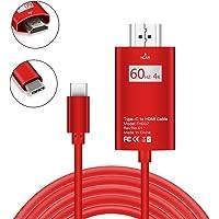 BAIVON Cable USB C a HDMI, USB 3.1 Tipo C a HDMI (Compatible con Thunderbolt 3) 4 K @ 60 Hz para MacBook Pro, MacBook, Chromebook Pixel, Samsung Galaxy S9/S9 Plus/S8/S8 Plus y Más, Rojo