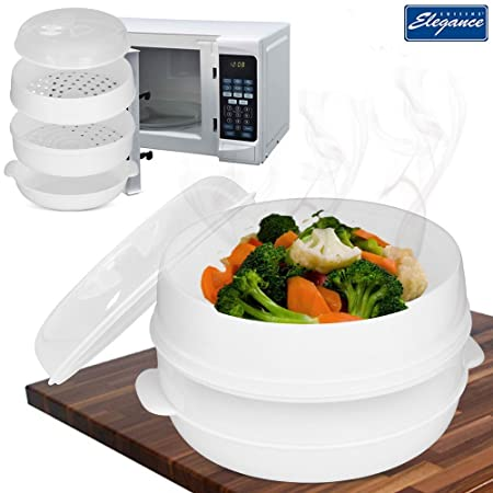 Cuisine Elegance 2 Tier Microwave Cooker Steamer Vegetable Rice Pasta  Cooking Pot Pan