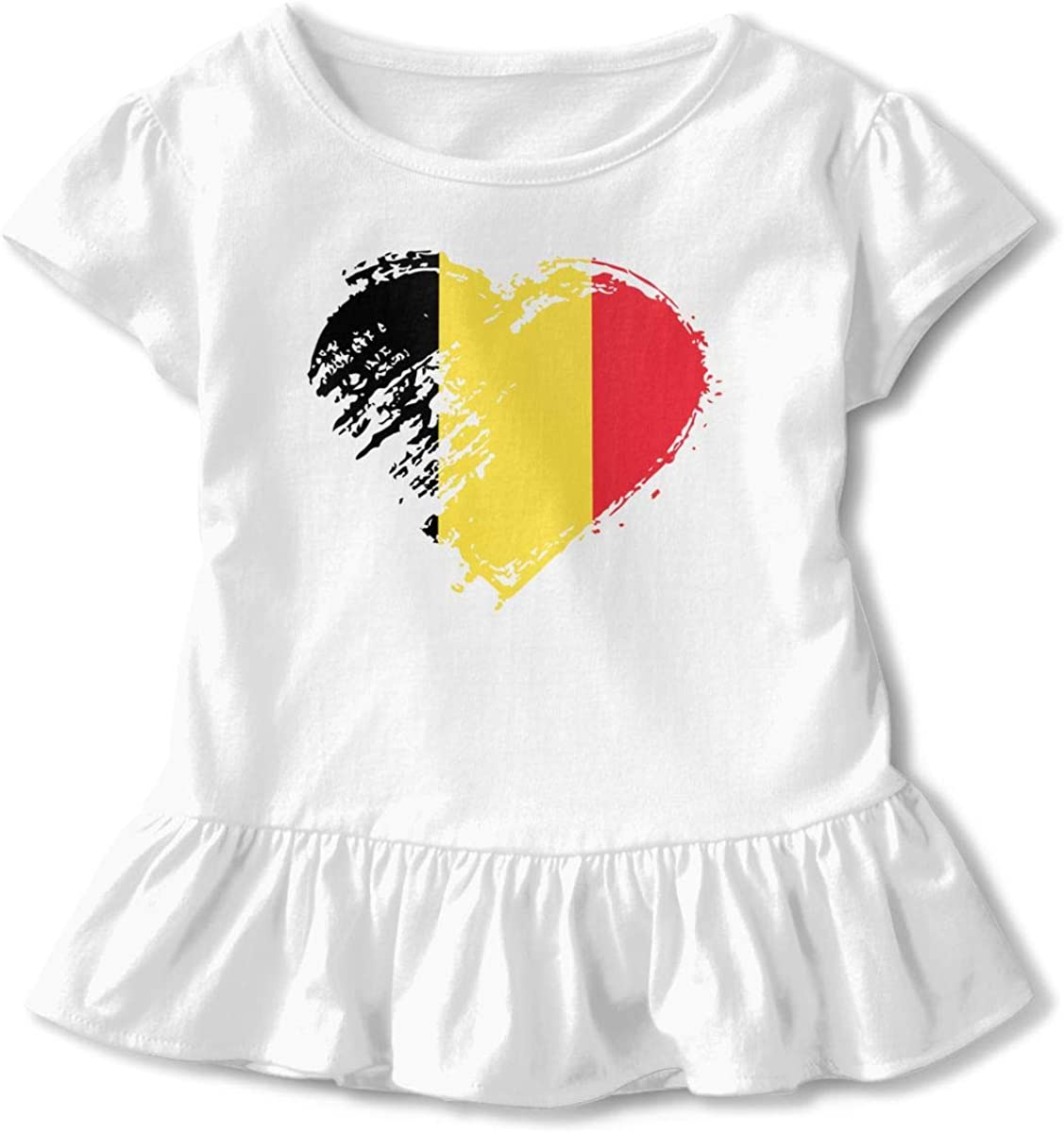 I Love Belgium Heart Flag Toddler Girls Short Sleeve Graphic Top