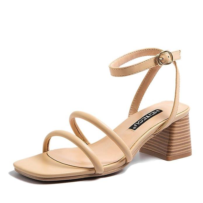 QIN&X Les Talons Talon Bloc Bouche Peu Profonde à Tête Ronde Chaussures Sandales,Gris,35