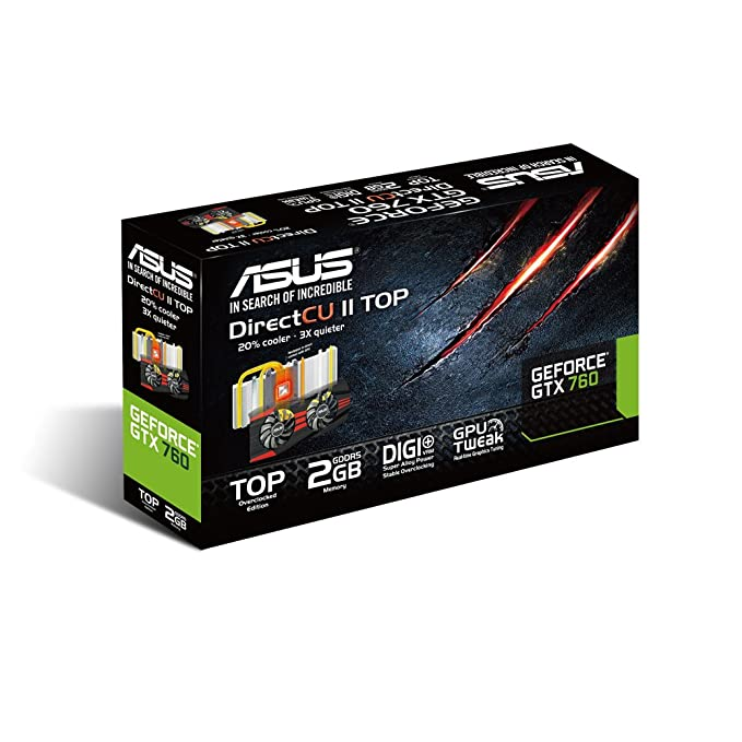 Asus GTX760-DC2T-2GD5-SSU - Tarjeta gráfica de 2 GB con nVIDIA GeForce GTX 760 (gddr5, HDMI, DVI-D, DVI-I)