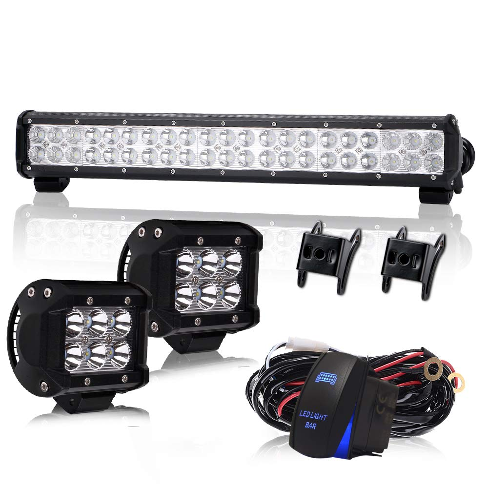 TERRAIN VISION 20Inch 126W DOT Approved LED Offroad Driving Light Bar Combo Beam Lights with 4inch LED offroad Cube Light Wiring Harness Rocker switch For Jeep Wrangler Dodge Hyundai Ford F150 ATV UTV 12V~24V