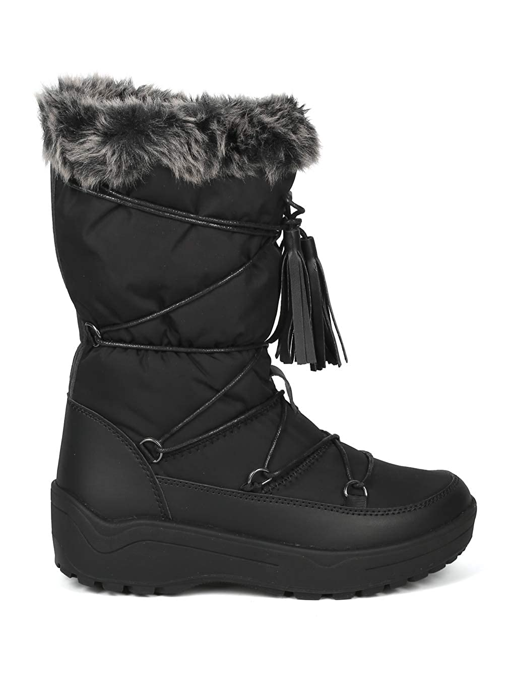 IB52 Alrisco Women Mixed Media Mid-Calf Gilly Tie Lace Up Fur Cuff Winter Boot