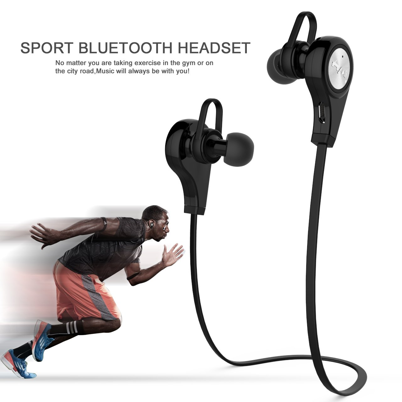BEIYOU Best Wireless Headphones,Bluetooth Headphones,Sports Earphones,IPX4 Waterproof Stereo Wireless Bluetooth Earbuds for Gym Running,8H Playtime,150H StandbyTime,Noise Cancelling Earbuds (Black)
