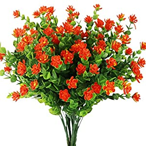 Artificial Flowers Outdoor Fake Plants Greenery Daffodils Red Shrubs Plastic Bushes Indoor Planter Decor 4 pcs 1
