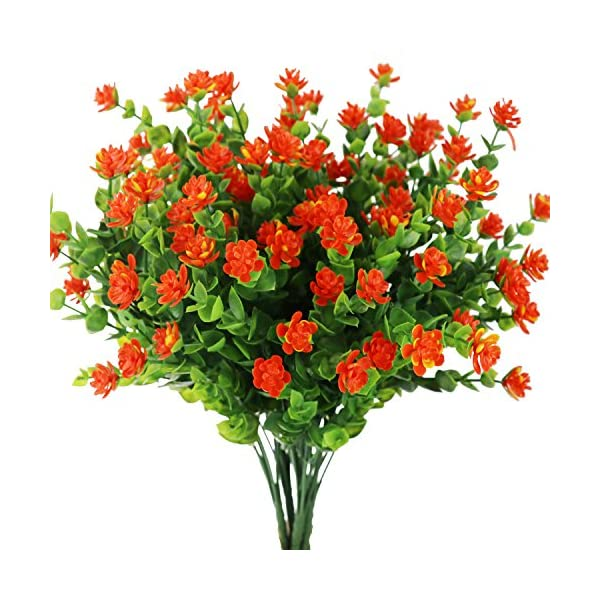 Artificial-Flowers-Outdoor-Fake-Plants-Greenery-Daffodils-Red-Shrubs-Plastic-Bushes-Indoor-Planter-Decor-4-pcs
