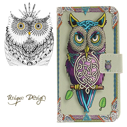 Leather Kickstand Case for LG Stylo 3(2017) with [Tempered Glass Screen Protector], Anti Scratch Flip Wallet Case, Magnetic Folio Case Cover for LG Stylo 3/Stylus 3/LS777-Colorful Owl