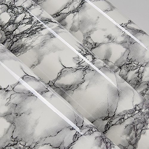 Self Adhesive Black White Marble Gloss Vinyl Contact Paper for Kitchen Countertop Cabinets Backsplash Wall Crafts Projects (24 by 117 Inches)